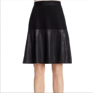 Cabi Black Owens Faux Leather A Line Skirt